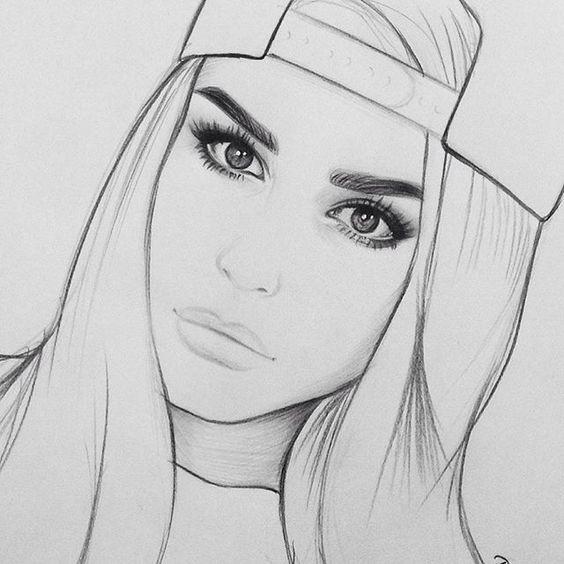 Рисунки лица девушек карандашом для срисовки 004