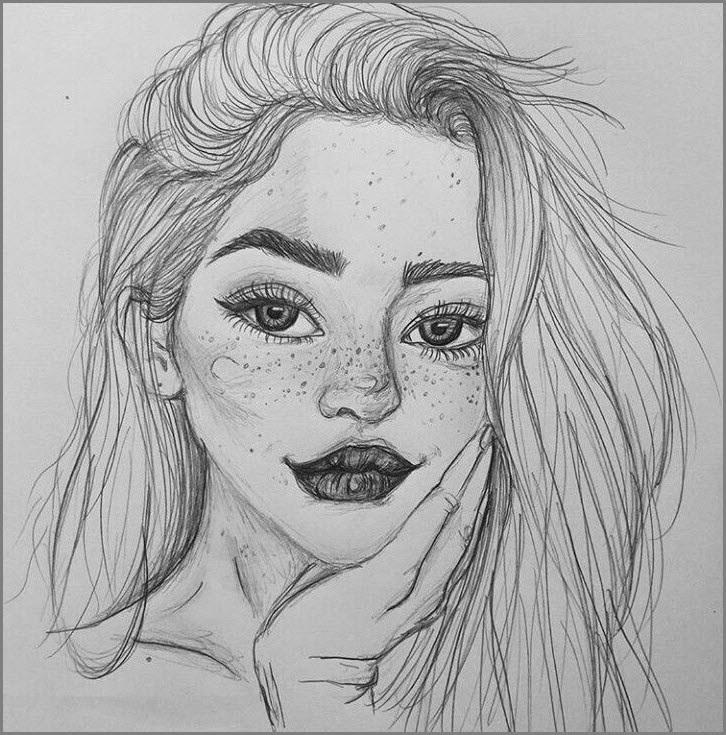Рисунки лица девушек карандашом для срисовки 005
