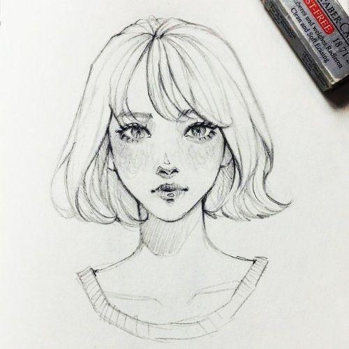 Рисунки лица девушек карандашом для срисовки 006