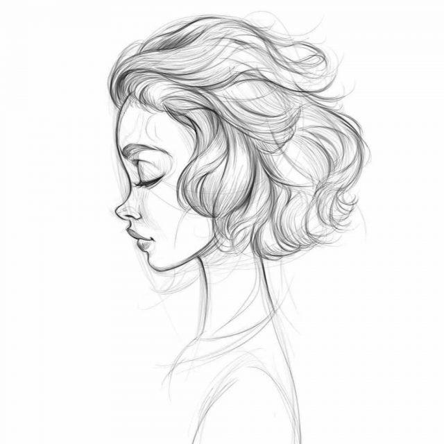 Рисунки лица девушек карандашом для срисовки 008
