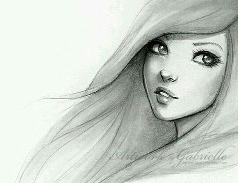 Рисунки лица девушек карандашом для срисовки 009