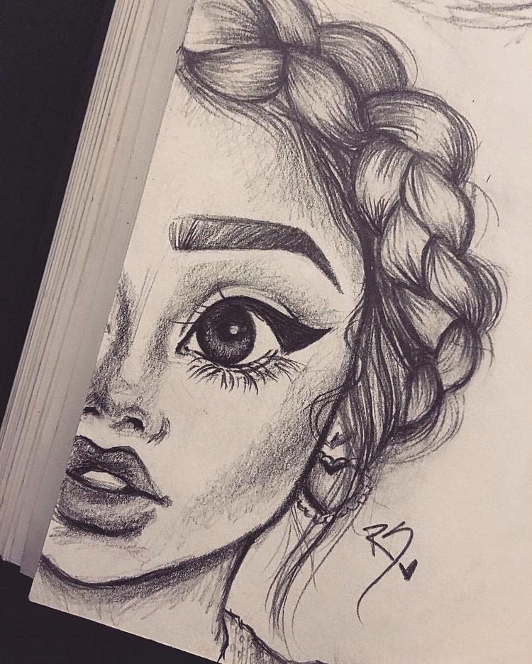Рисунки лица девушек карандашом для срисовки 011
