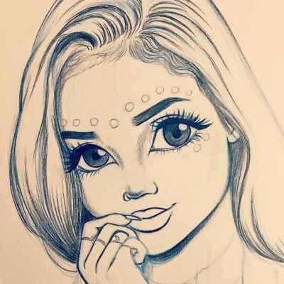 Рисунки лица девушек карандашом для срисовки 012