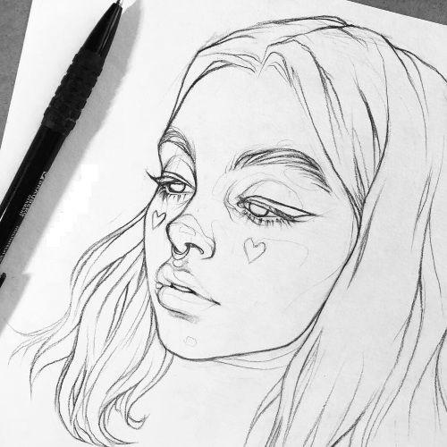 Рисунки лица девушек карандашом для срисовки 013