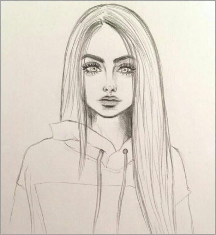Рисунки лица девушек карандашом для срисовки 014