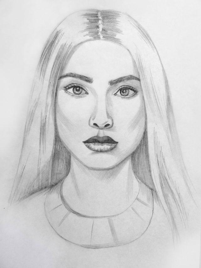 Рисунки лица девушек карандашом для срисовки 017