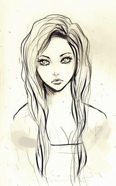 Рисунки лица девушек карандашом для срисовки 018