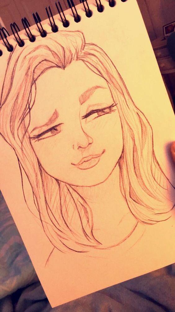 Рисунки лица девушек карандашом для срисовки 019