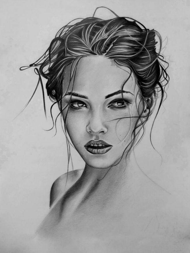 Рисунки лица девушек карандашом для срисовки 020