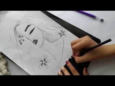 Рисунки лица девушек карандашом для срисовки 021