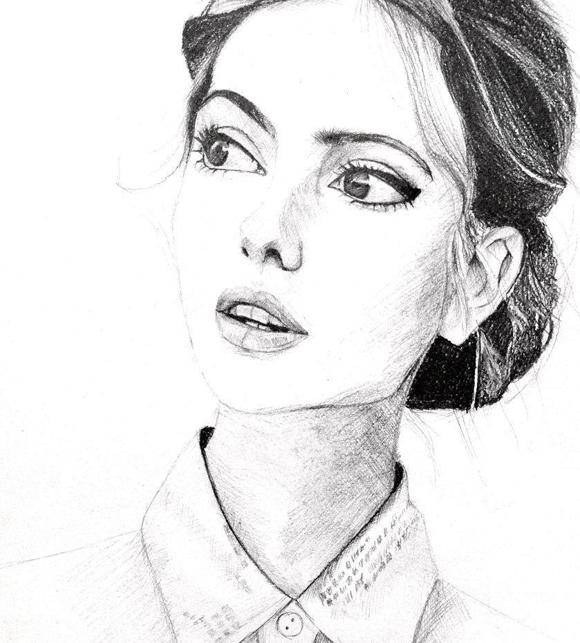 Рисунки лица девушек карандашом для срисовки 022