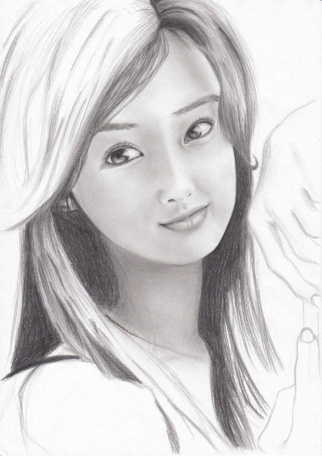 Рисунки лица девушек карандашом для срисовки 025