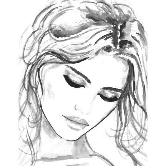 Рисунки лица девушек карандашом для срисовки 029