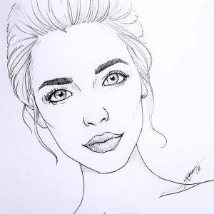 Рисунки лица девушек карандашом для срисовки 030
