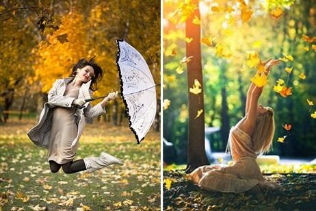 Идеи для фотосессии осенью на улице с зонтиком 24