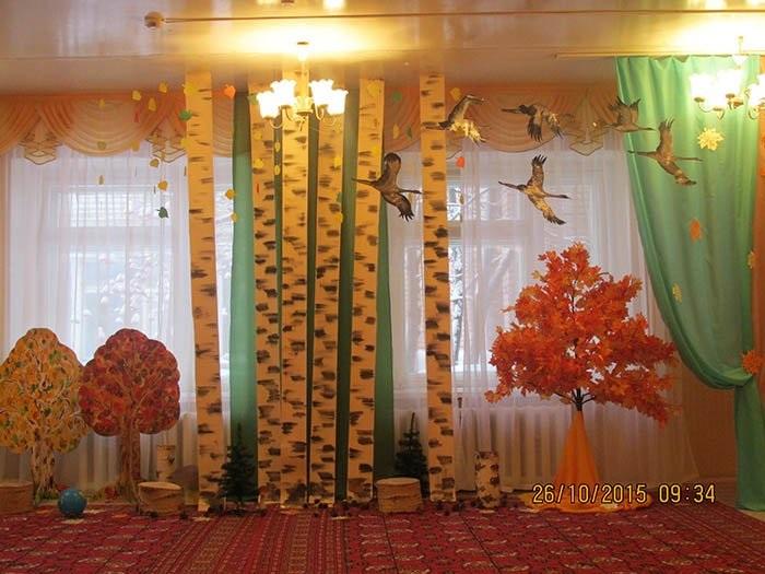 Идея осень украшение зала в детском саду 07