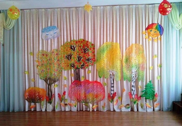 Идея осень украшение зала в детском саду 10