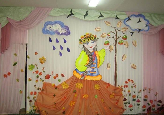 Идея осень украшение зала в детском саду 14