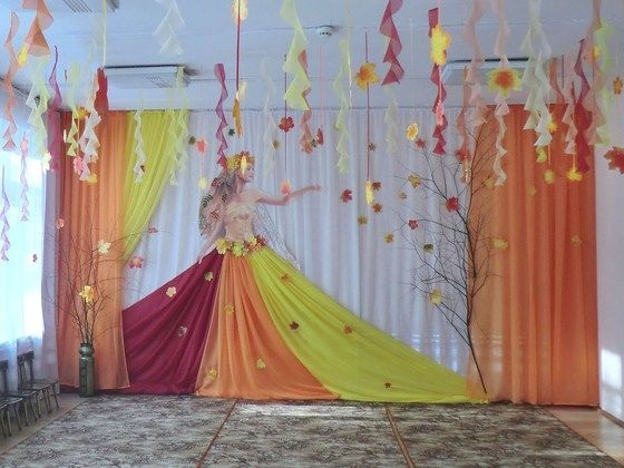 Идея осень украшение зала в детском саду 17