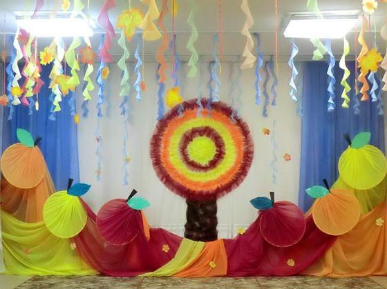 Идея осень украшение зала в детском саду 26