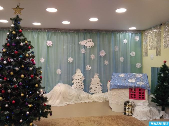 Идея украшение зала в детском саду в новый год 01