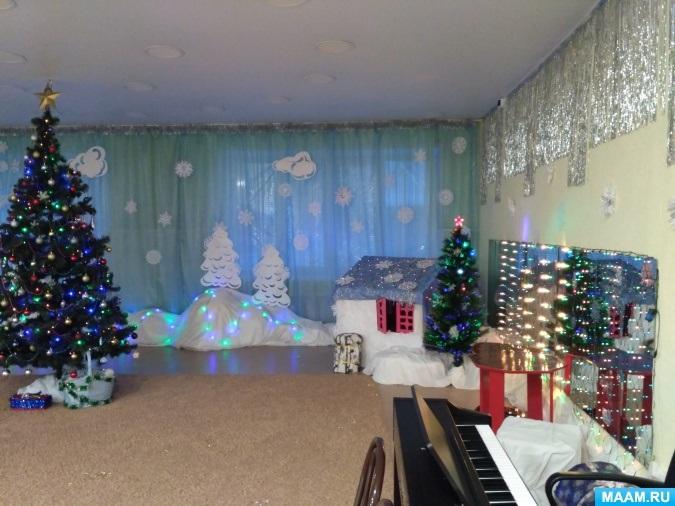 Идея украшение зала в детском саду в новый год 05