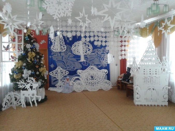 Идея украшение зала в детском саду в новый год 06