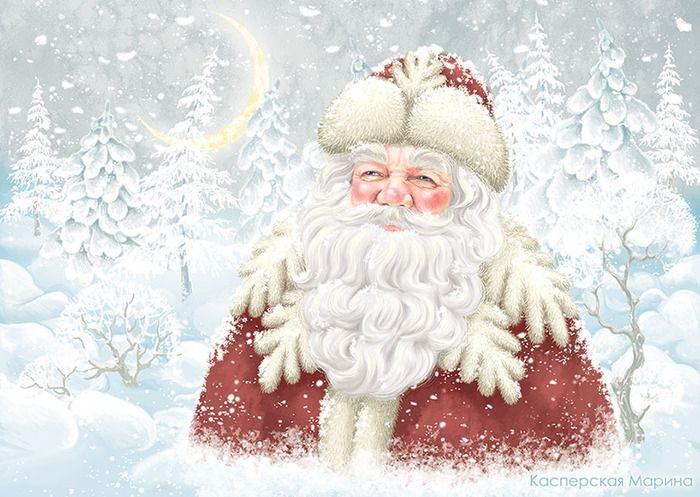 Картинки деда мороза иллюстрация на новый год 08