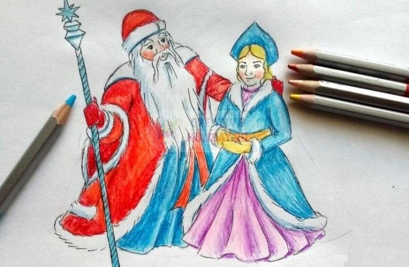 Картинки деда мороза иллюстрация на новый год 09