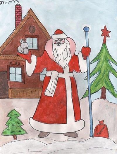 Картинки деда мороза иллюстрация на новый год 20