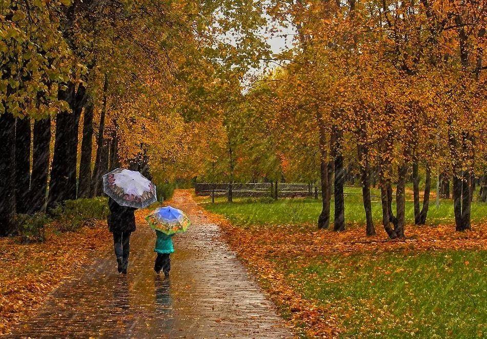 Красивая фотосессия на тему осенний дождь 02