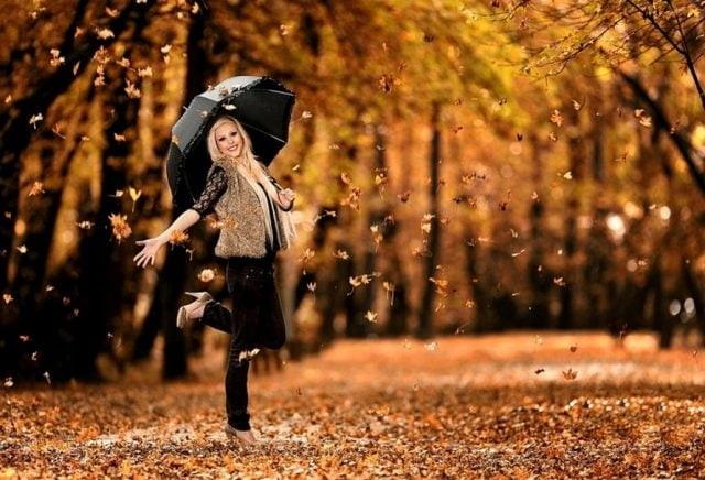 Красивая фотосессия на тему осенний дождь 21