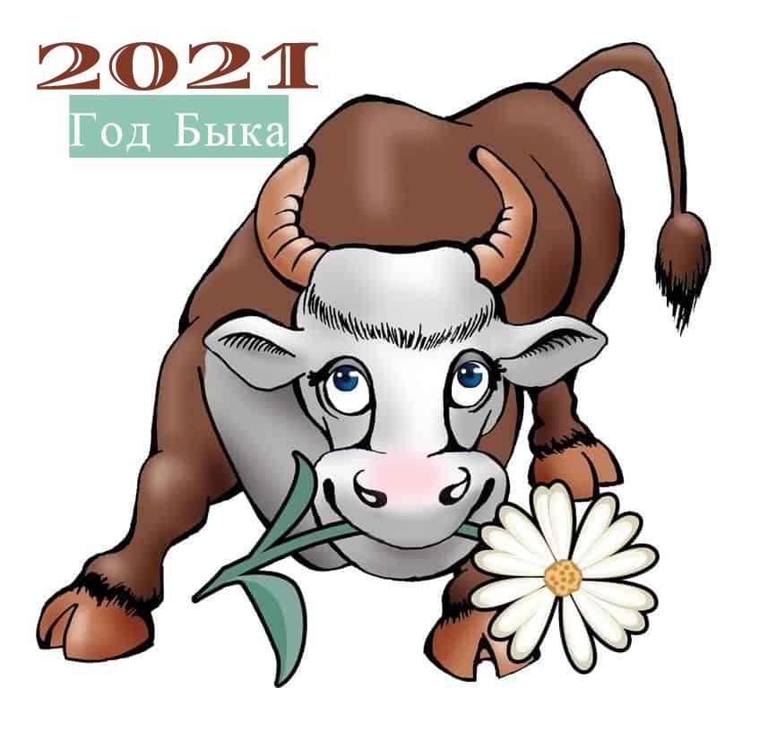 Крутые открытки на год быка 2021 06
