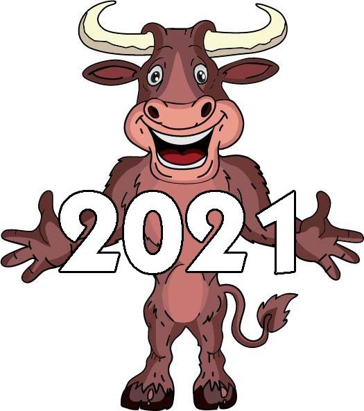 Крутые открытки на год быка 2021 11
