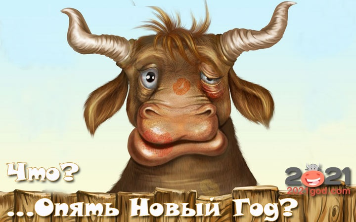 Крутые открытки на год быка 2021 18