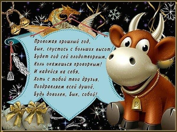 Милые поздравления с годом быка на новый год 12