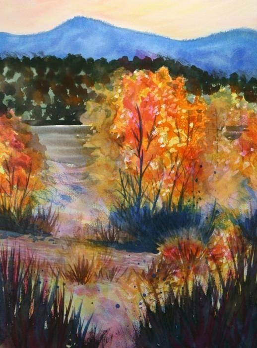 Что можно нарисовать на тему Осень в деревне 05