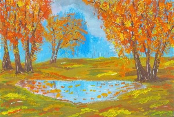 Что можно нарисовать на тему Осень в деревне 10