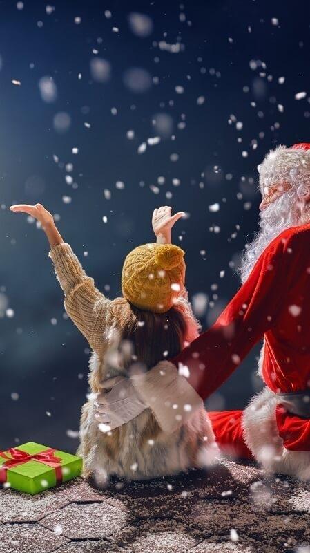 Новогодние обои деда мороза на телефон 30