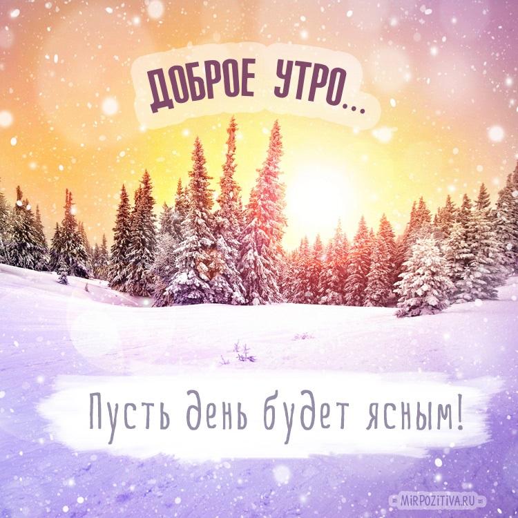 Красивые с добрым утром, зимние интересные картинки 18