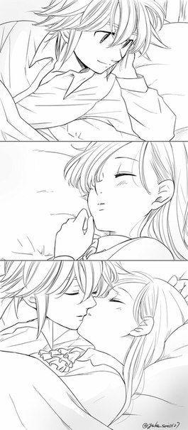 Элизабет и Мелиодас поцелуй арт картинки (1)
