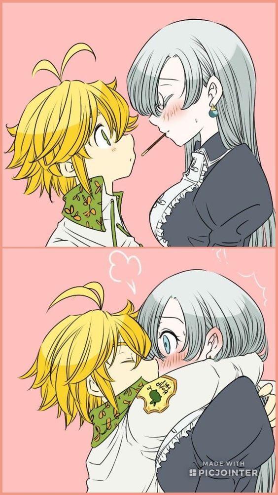 Элизабет и Мелиодас поцелуй арт картинки (12)