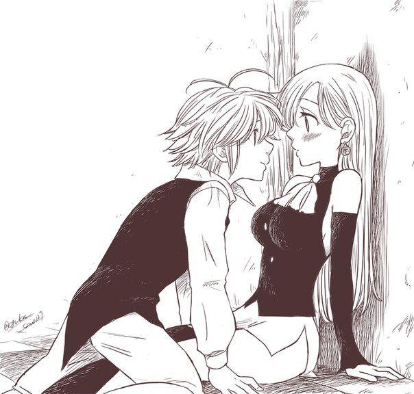 Элизабет и Мелиодас поцелуй арт картинки (23)