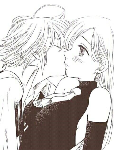 Элизабет и Мелиодас поцелуй арт картинки (26)