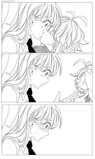 Элизабет и Мелиодас поцелуй арт картинки (29)