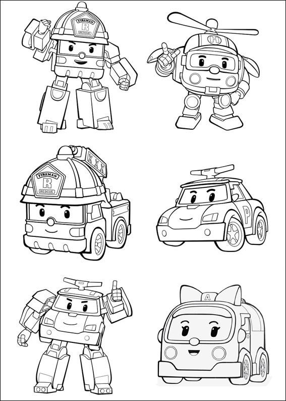 раскраски команда спасателей поли робокар, для детей 01
