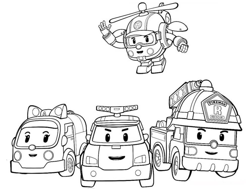 раскраски команда спасателей поли робокар, для детей 02