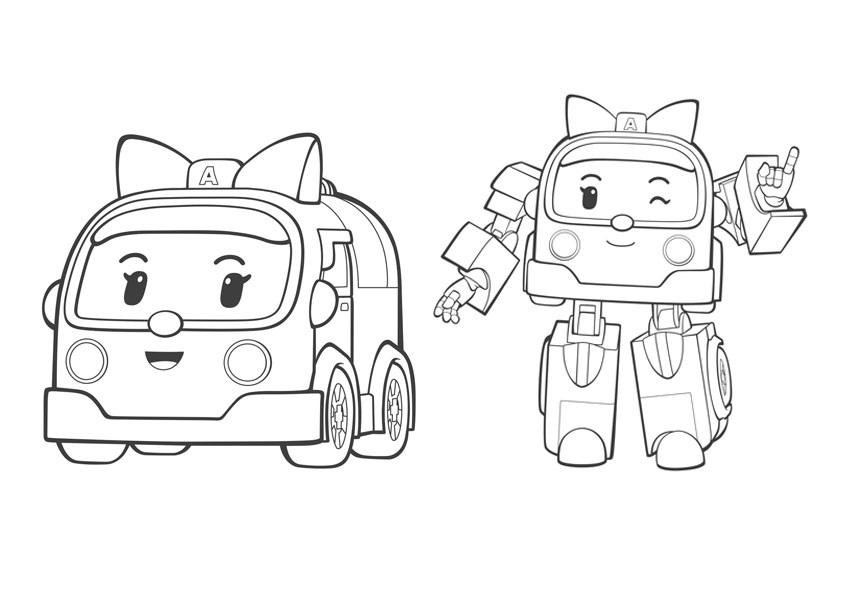 раскраски команда спасателей поли робокар, для детей 04