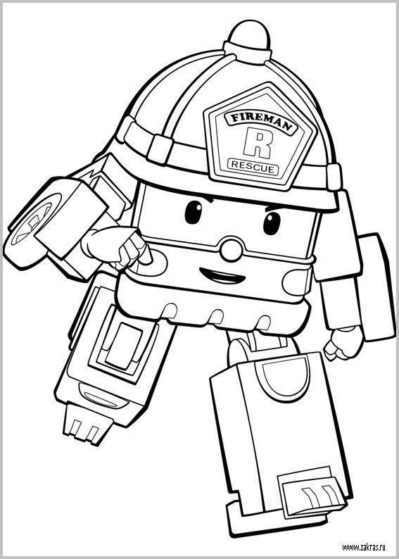 раскраски команда спасателей поли робокар, для детей 08