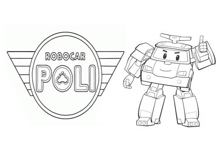 раскраски команда спасателей поли робокар, для детей 09